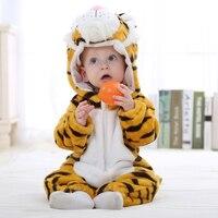 Flannel Baby Boys Girs Romper Hoodde High Quality Animal Cartoons Jumpsuit New Born Bebe Clothing