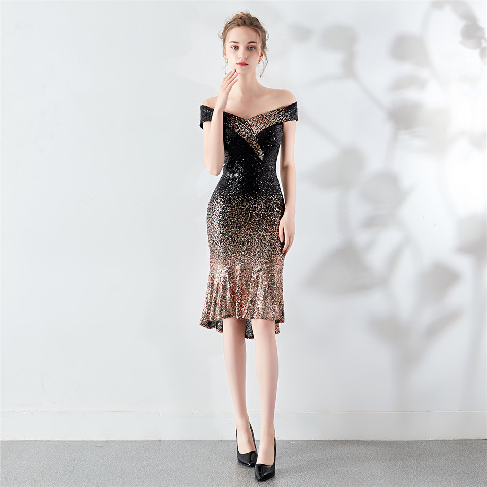 It's Yiiya Prom gowns Sexy Boat neck Zipper back Mermaid Party dresses Royal Sequined Knee-length Ruffles Evening dress C194