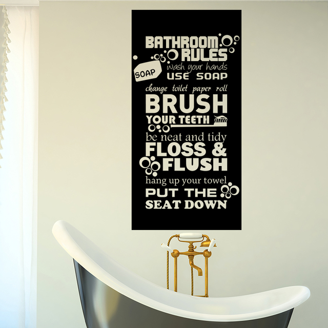 Art Design Bathroom Rules For Kids Quote Wall Sticker Home Decor Vinyl  Toilte WC Rules Wall