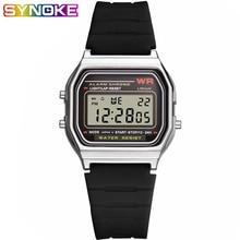 SYNOKE Mens Square LED Digital Watch Plastic Swimming Sports Black Waterproof Man Display Wristwatch Shock Resistant