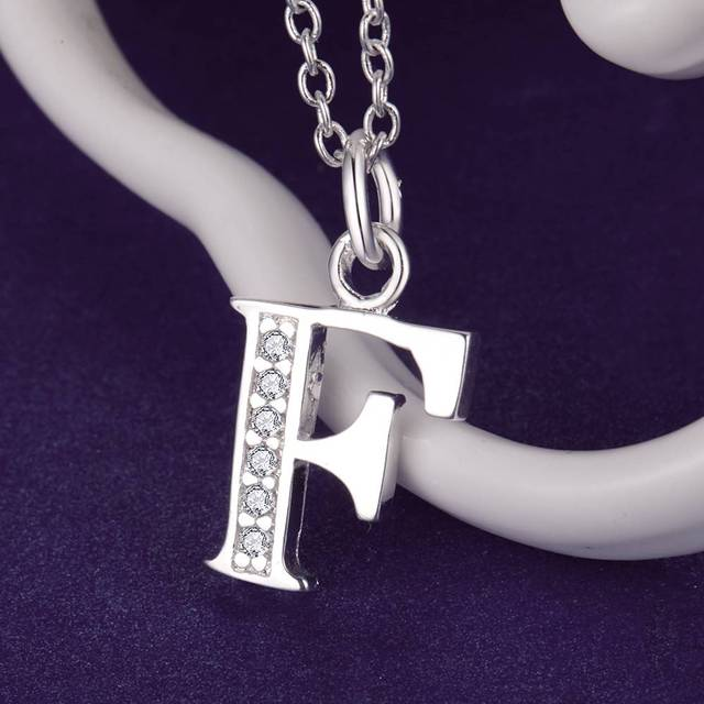 Letter F Bling Zirconsilver Plated Necklace Silver Pendant Jewelry