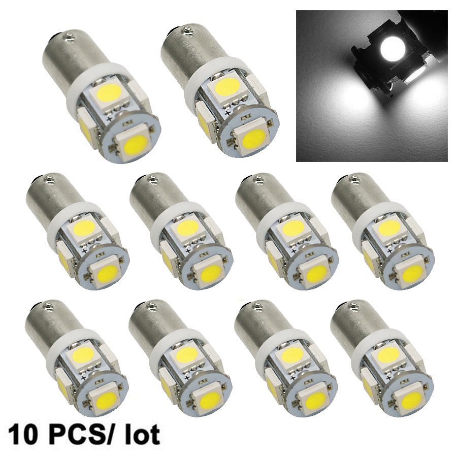 цена 10PCS/Lot T11 BA9S 5050 5-SMD LED White Light Bulb Car light Source Car 12V Lamp T4W 3886X H6W 363 High Quality