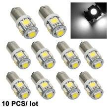 Yccpauto lâmpada para carros, 10 pçs/lote t11 t4w ba9s lâmpadas de led 5050 5-smd branco amarelo azul fonte de luz para carro h6w 12v led lâmpada automática de alta qualidade