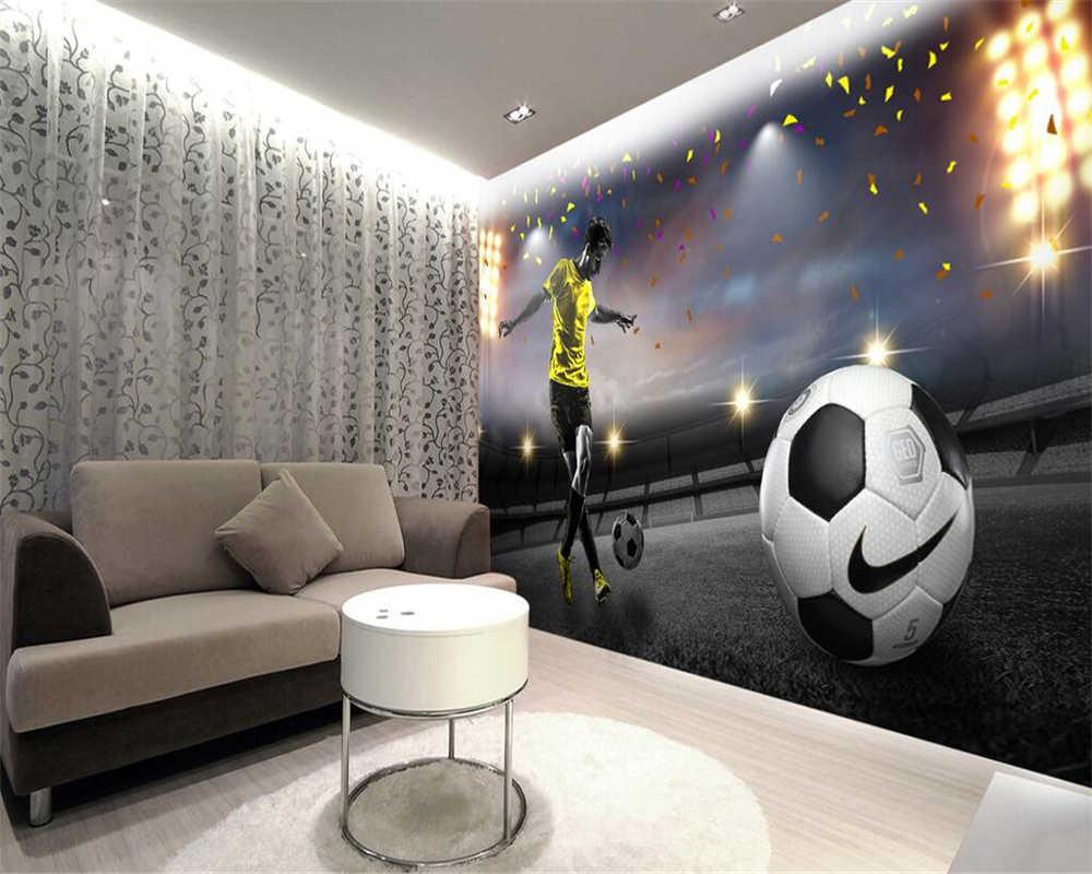 Beibehang Kustom Wallpaper HD Besar Lapangan Sepak Bola 3D TV Latar Belakang Dinding Ruang Tamu Kamar Tidur Latar Belakang Dinding Mural 3D Wallpaper