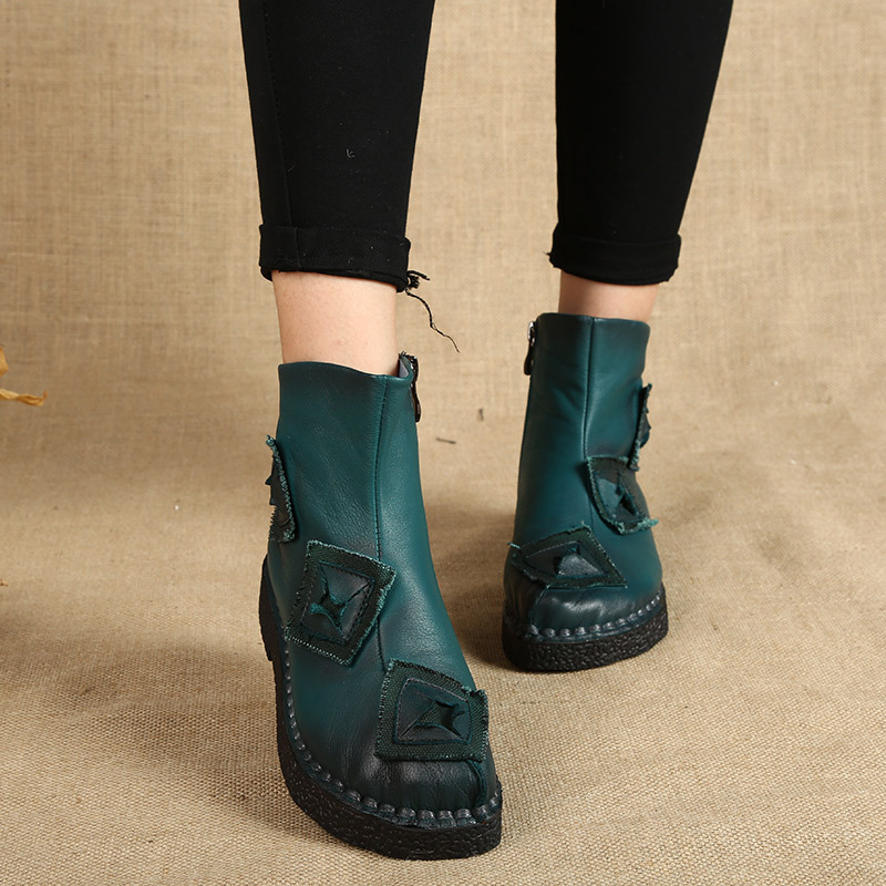 2017 autumn and winter new leather Martin boots female round head in the tube non-slip comfortable mother shoes national wind 2017 autumn and winter new plus velvet thick women s boots soft bottom comfortable breathable mother shoes wild leather
