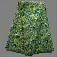 Populaire shinning vert français tissu de tulle de broderies et de paillettes africaine matériau maillé GN7-4 ( 5 metros / lot )