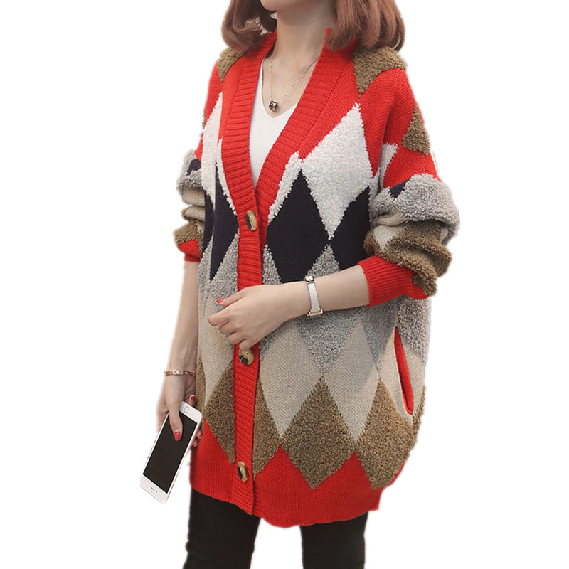 Patchwork Color V Neck Knit Cardigan Autumn Outside Loose Was Thin Fashion Diamond Pattern Women Warm Casual Sweater MZ2879