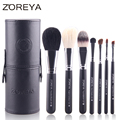 ZOREYA Brand 7pcs Makeup Brush Set With Barrel Colorful Cosmetics As Top Quality Makeup Tool