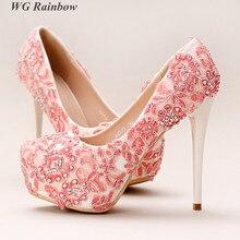 Women High Heels font b Shoes b font 2016 Glitter Rhinestones Lace Bridal Wedding font b