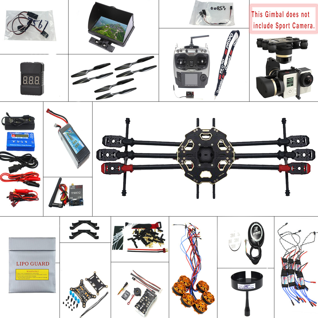 F07807-G 2.4G 9CH 680PRO PX4 GPS 5.8G Video FPV RC Hexacopter Unassembled Full Kit RTF DIY RC Drone Combo MINI3D Pro Gimbal