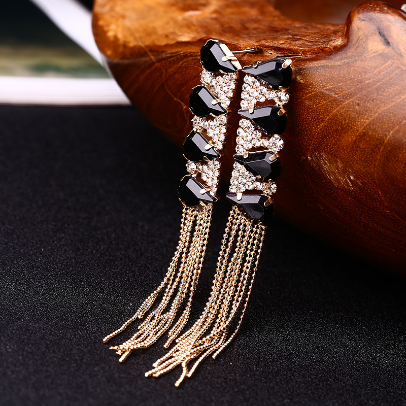2016 Fashion personality sparkling crystal drop long design tassel earring wedding  for women present on valentine's day #E046