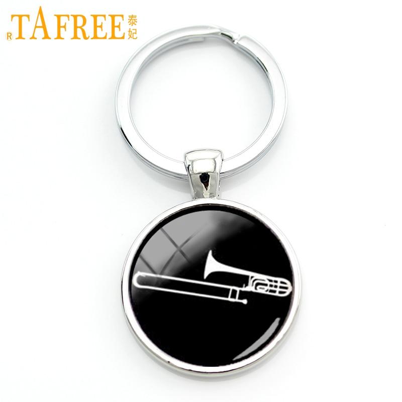 TAFREE 2017 Musical Instrument Silhouette Keychain Trombone Key Chain Dj Mixer Musician Jewelry Jazz Music Band Fans Gift KC629