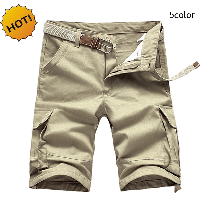 6198e2326d31 High Quality Summer Solid Knee Length Cotton Straight Baggy Army  Multi-Pocket Cargo Short trousers