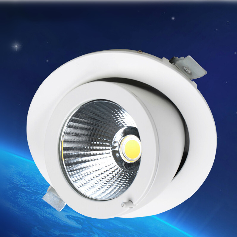 30pcs Rotate 360 degrees Dimmable LED Downlight COB Ceiling 30W Adjustable recessed Super Bright Indoor Light COB LED downlight cob adjustable dimmable led downlight 30w recessed gimbal down lamp commercial supermarket ceiling super bright by dhl