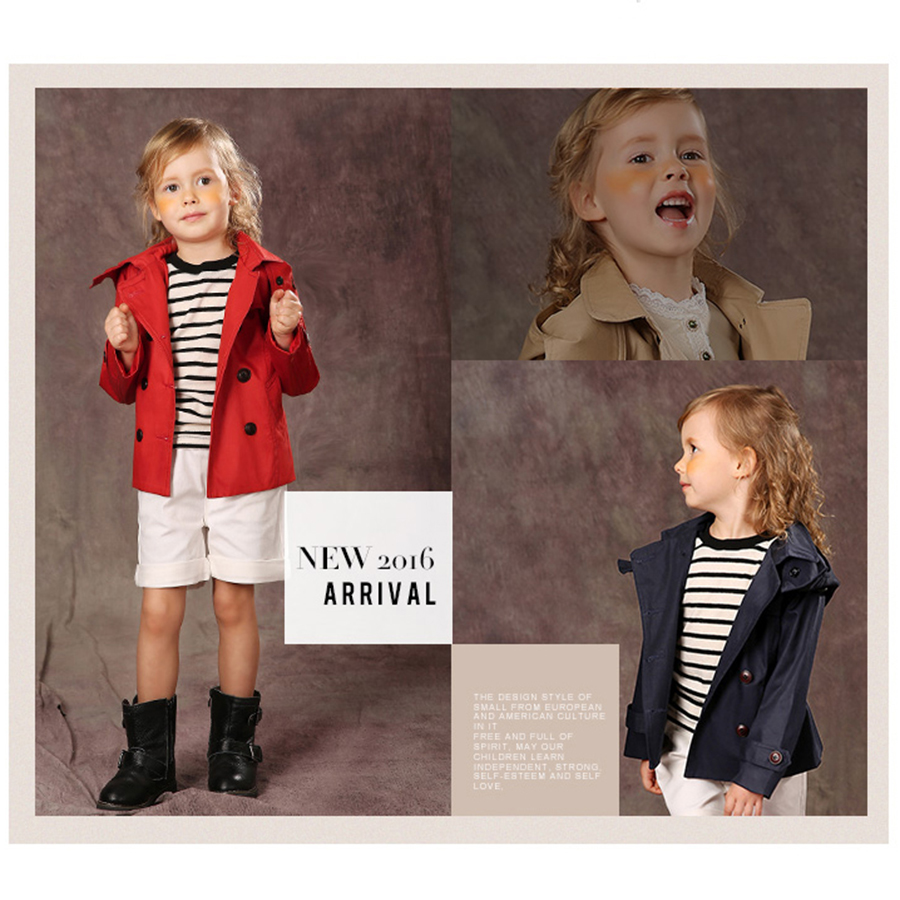 Girls Jacket Winter Outerwear Hooded Coats Spring Autumn Children Clothes Fashion Double Breasted Trench Coat Girls Kids 70F1565 цены онлайн