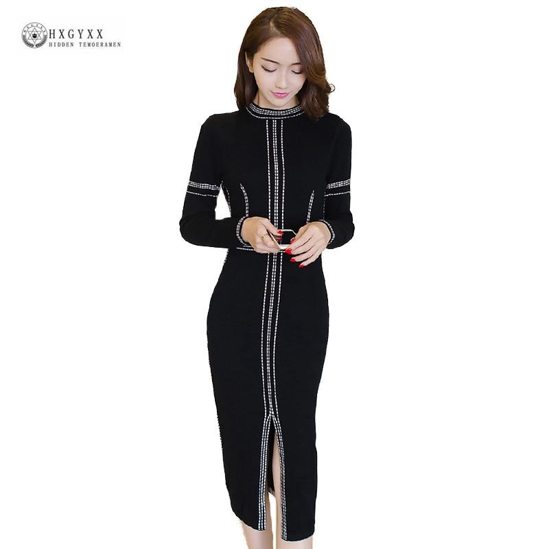 New Women Spring Sweater Dresses Knitted Elastic Slim Split Sheath Sexy Dress Black O-neck Long Sleeves Feminino Vestido OK1445 цена