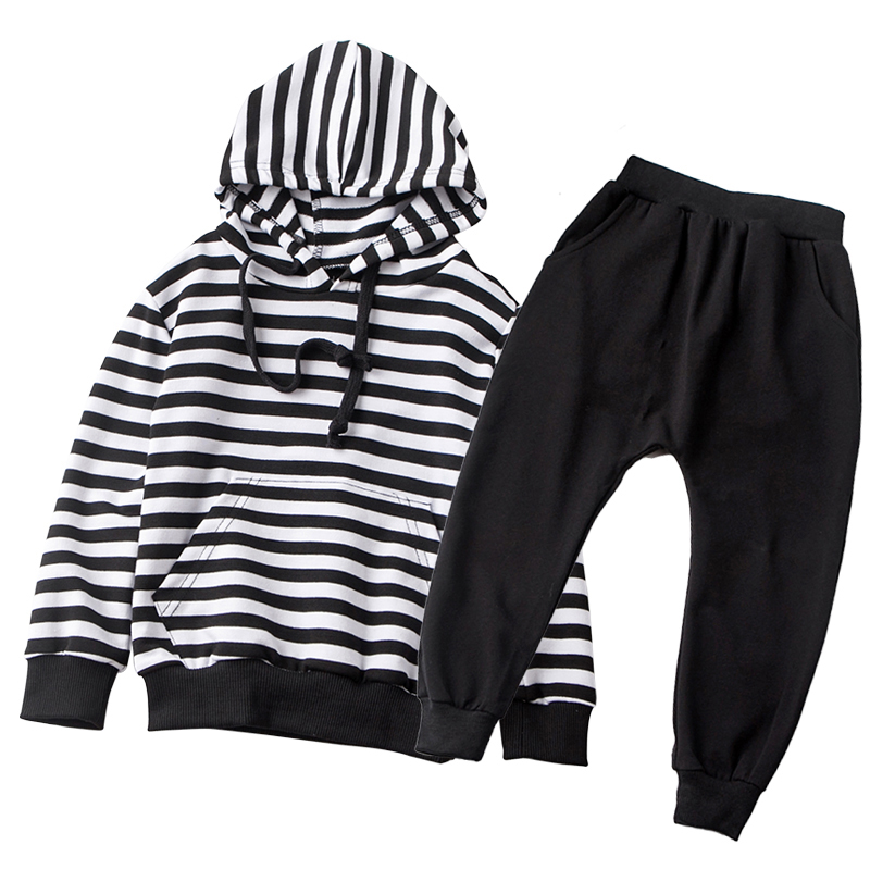 Fashion Kids Clothes Sets Boys Striped T Shirts Girls Hooded Top Cotton T-shirt 2017 Winter Pullover Blouse Children Clothing