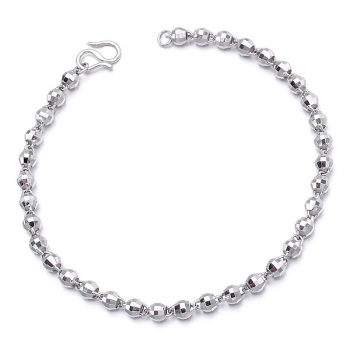 Glitzy Platinum Bead Link Chain Bracelets PT950 White True Solid Gold Bangles for Women Girl Wedding Engagement Jewelry Gift 1