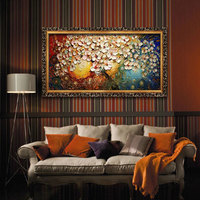 Cheap Handpainted Canvas Wall Art Abstract Painting Modern Acrylic Flowers Home Decoration Palette Knife Oil Painting