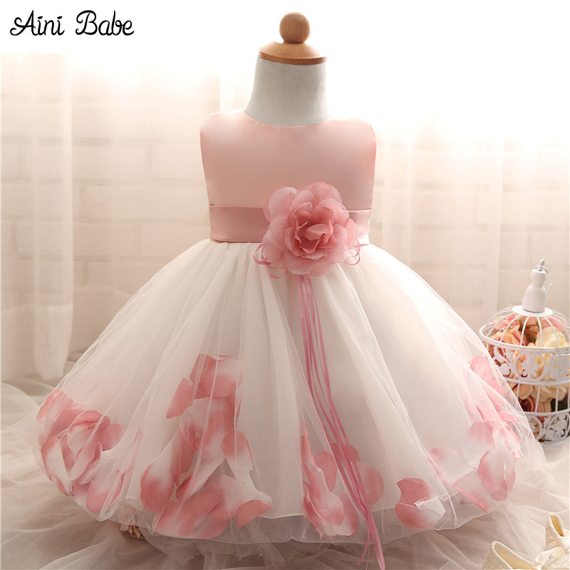 Flower Baby Girl Tutu Dress Wedding Party Sleeveless Infant Baby Petal Dresses For 1 Years Toddler Girl Birthday Baptism Clothes