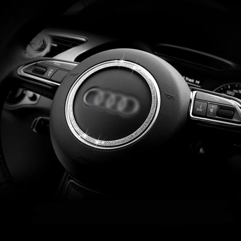 Car Styling Auto Accessories For Audi A5 A6 Q3 Q5 A1 Steering Wheel Diamond Inlay Decoration Circle Ring Modification Stickers
