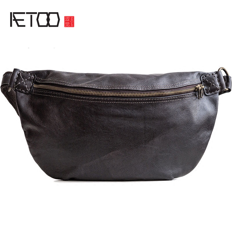 AETOO Original first layer of leather chest shoulder bag oblique tide men men s leather oblique cross chest packs of the first layer of leather deer pattern men s shoulder bag korean fashion men s bag