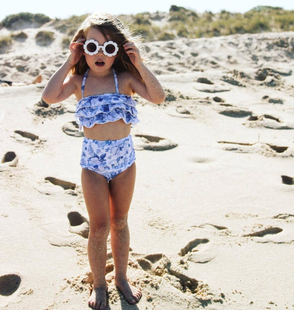 INS swimwear baby girl bikini badmode baby flower One Off Shoulder Swimsuit Bathing Two pieces Swimming Clothes for 1-6Age