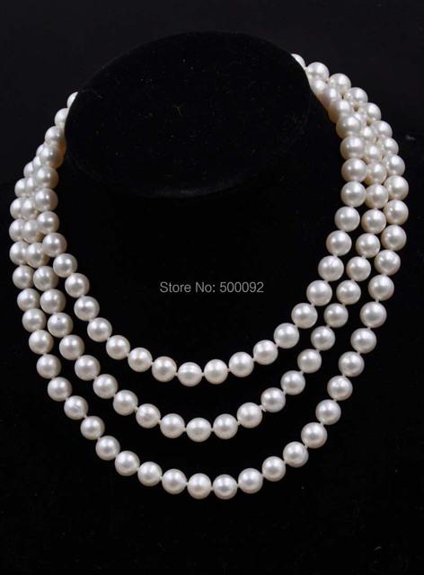 """50 """"8.5-9mm blanco de agua dulce genuino collar de perlas envío gratis"""