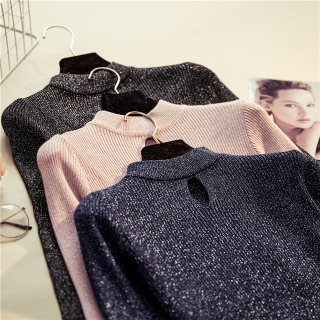 Yuzhenli 2018 Autumn Sexy Women Sweaters Hollow Flash Jumpers Casual Thin  Pullover Knit Tops Long Sleeve Pull Femme Blusas bda5e1f5b