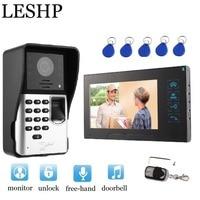 Video Intercom 7 inch TFT LCD Monitor Video Door Phone MIC Fingerprint/Code Unlock Indoor Monitor Outdoor Camera With RFID Cards