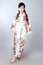 Free Shipping ! White Japanese Women's Silk Satin Kimono Yukata Evening Dress Flower One Size H0042