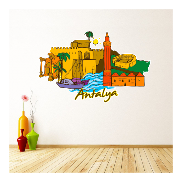 Antalya Map Globe Earth City Wall Vinyl Sticker Custom Made Home Decoration Fashion Design Pvc Removable