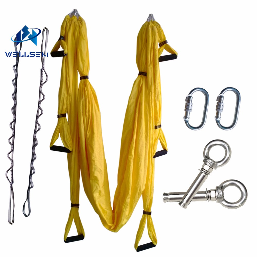 Complete Set Aerial Flying Anti-gravity Yoga Hammock Swing Yoga Belt +1 pair carabiners +1 pair Daisy Chain +1 pair ring mount aerial anti gravity yoga belt w elastic orange