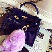 Bunny Fur Cham Furry Lavender Purple Bunny Bag Charm Doll Keychain Rabbit Fur Keyring Backpack Wallet