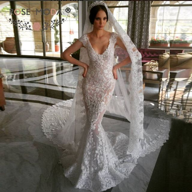 Sheath Wedding Dress with Train