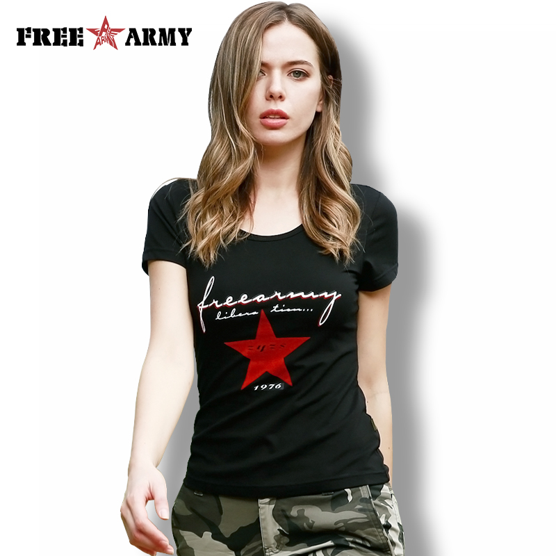 FREEARMY Black T-Shirt Fashion Military Green Camo Cotton T-Shirts For Women Print Short Sleeved Knitting tshirt Top Tees Lady