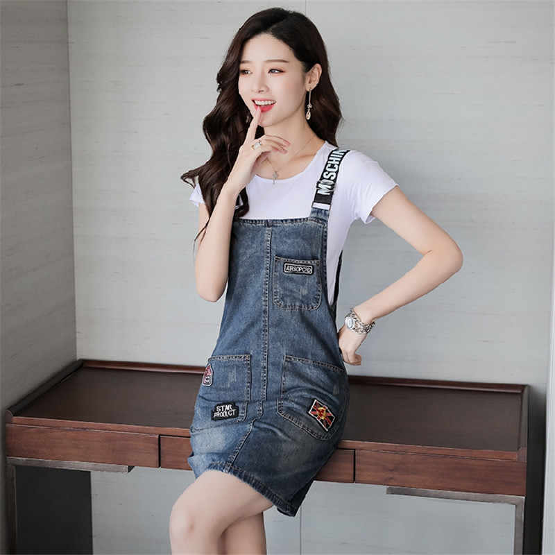 New Fashion Summer Mini Skirts Jeans Vintage Denim Skirt Suspender Pocket Casual Girls Skirts Overalls Plus Size S-3XL J325