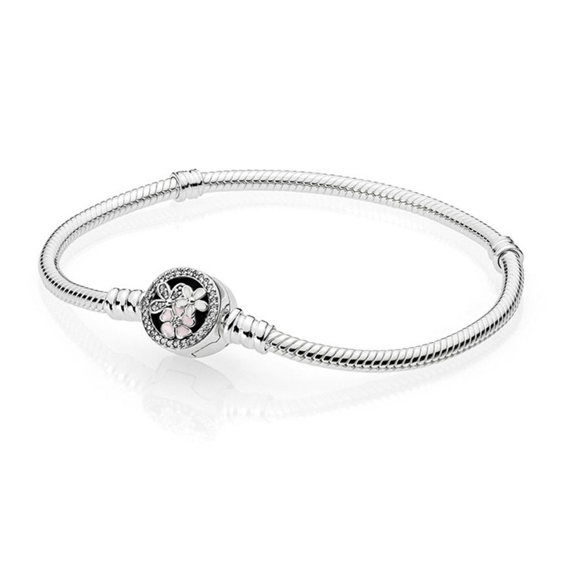 100% 925 Sterling Silver Bead Charm Chain Fit Original Moments Pandora Bracelet with Poetic Blooms Clasp for Women DIY Jewelry 925 sterling silver pandora bangle poetic blooms clasp snake chain bracelet bangle fit women bead charm diy europe jewelry