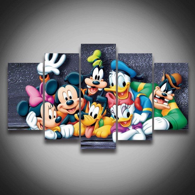 Printed-Cartoon-Donald-Duck-Mickey-Mouse-dog-animal-painting-5-panel-walls-decoration-on-canvas-Canvas.jpg_640x640