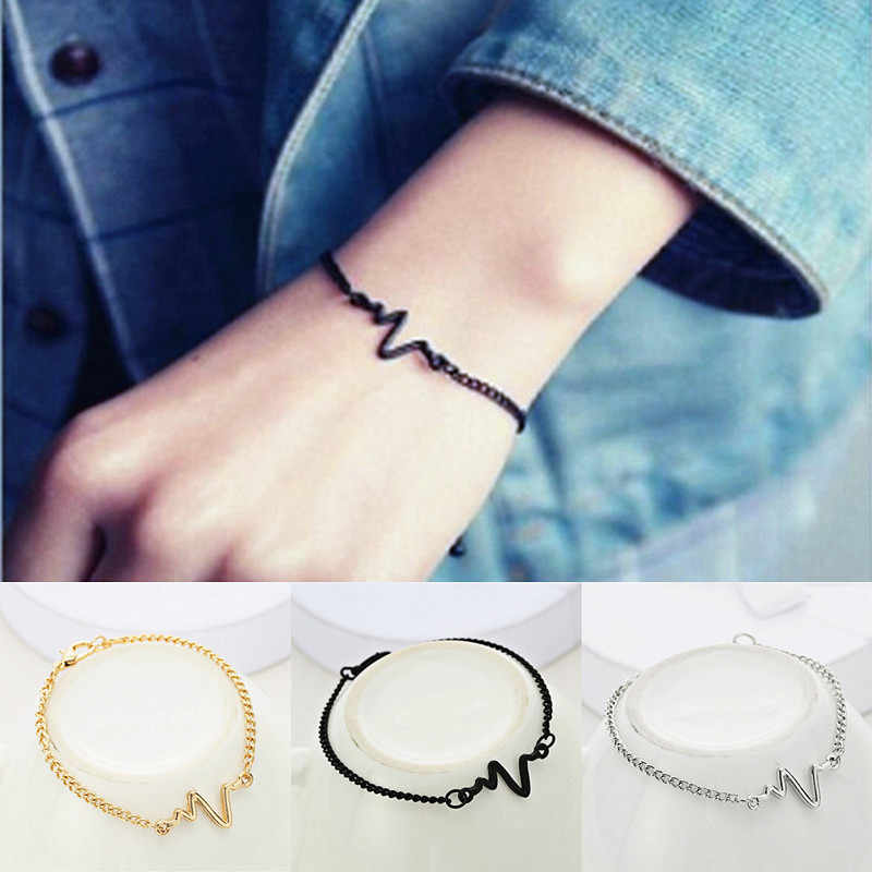 Simple Style ECG Lightning Bracelet 3 Colors Heartbeat Rhythm Chain Bracelets Jewelry Gift Love Wedding Banquet Wholesale