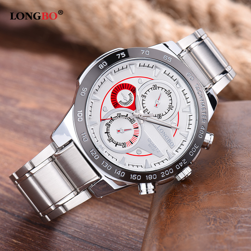 New Luxury Brand Longbo Business Full Stainless Steel Man Wrist Watch Fashion Sports Watches Mens Thress Eyes Relogio Masculino