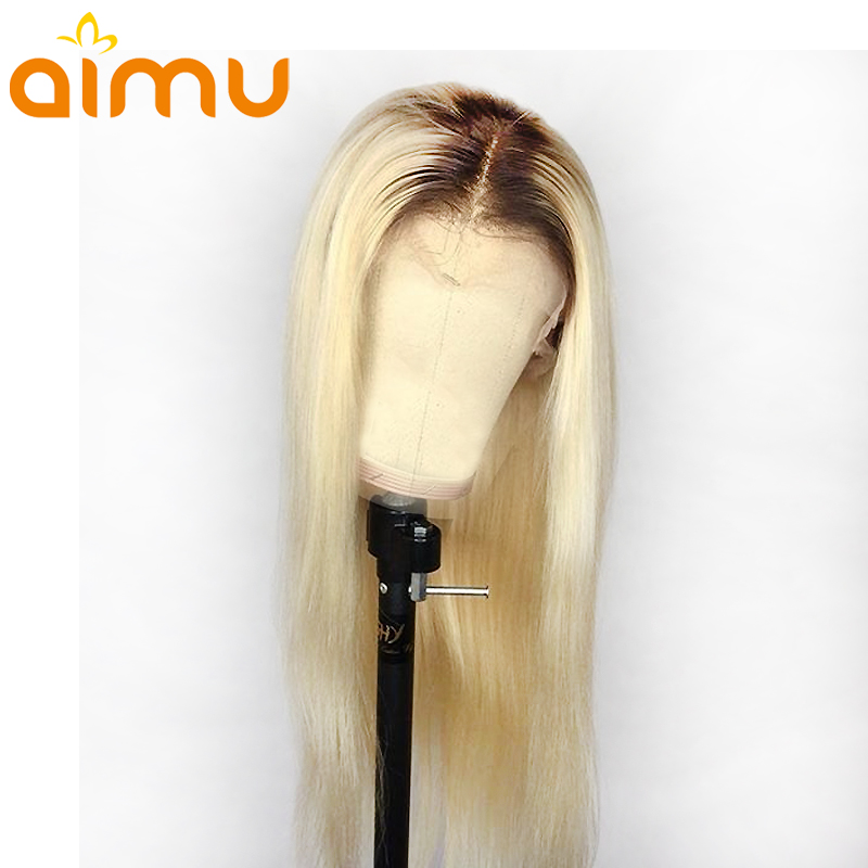 T4 613 Brown Roots Ombre Blonde Color Transparent Lace Front Real Straight Human Hair Wig Remy Brazilian Invisible PrePlucked