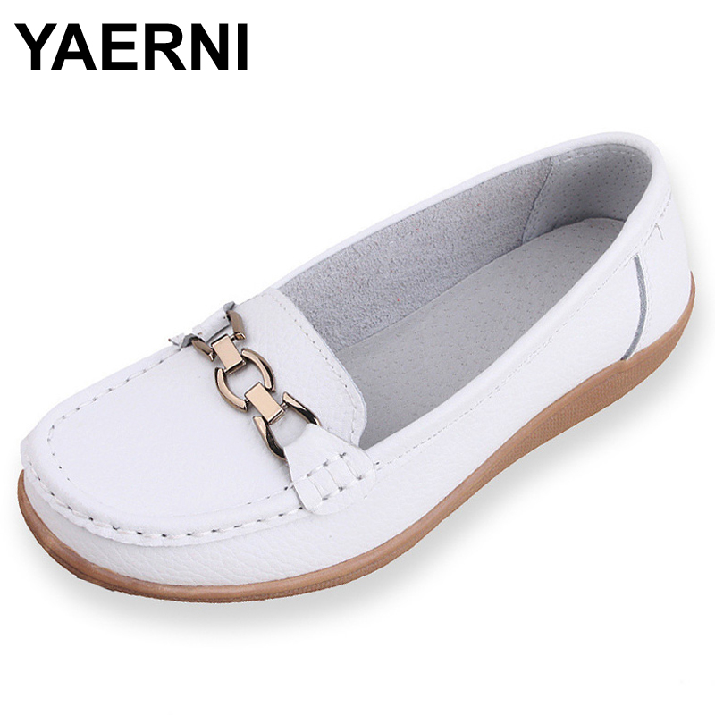 YAERNI  Genuine Leather Flats Women Shoes Fashion Metal Buckle Woman Solid Color Loafers Shoe Zapatos Mujer WSH2019 2017 metal head women shoes genuine leather oxford shoes for women flats shoes woman moccasins ballet flats zapatos mujer z464