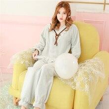 b5ffc66334 Princess sweet lolita pajamas Thickened Flannel Pajamas Autumn and Winter  Sweet Princess Lace Retro-School