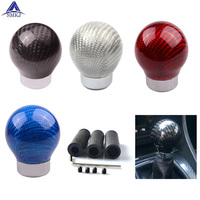 SMKJ Real Carbon Fiber Gear Shift Knob Aluminum Shift Knob for Honda and for Acura Honda BMW Kia Nissan ect