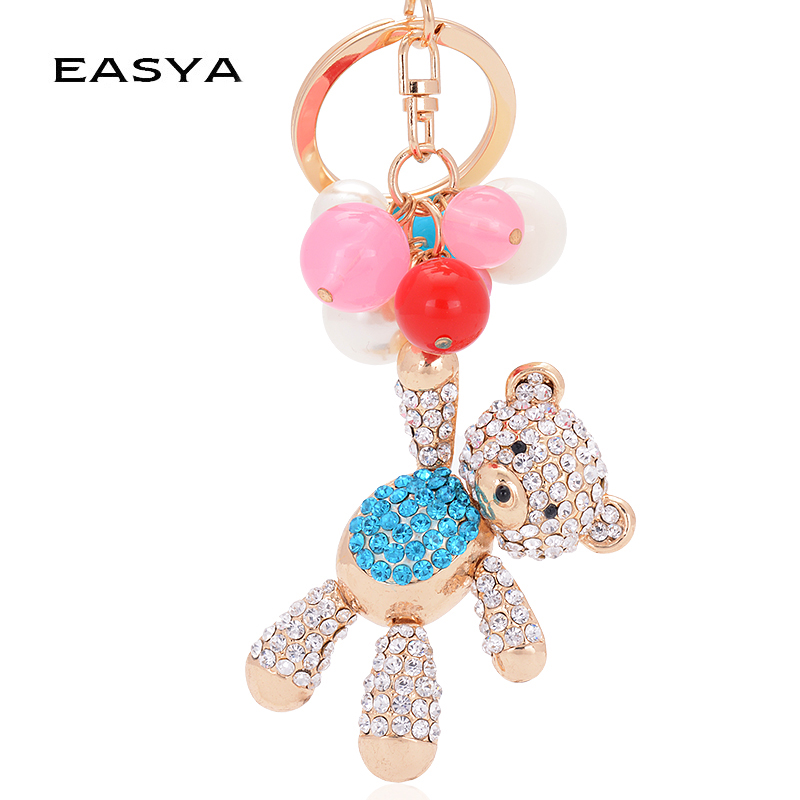 EASYA 2017 Trendy Teddy Bear Keychain Unisex თუთია დისკები Key Chain Porte Clef მოდის ქალები Rhinestone Cheerleaders Bear Keychain