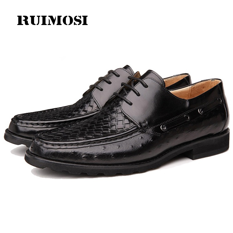 RUIMOSI Round Toe Handmade Man Formal Dress Shoes High Quality Genuine Leather Oxfords Famous Men's Bridal Wedding Footwear GD40
