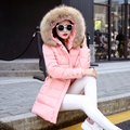 4 colores mujeres abrigo de Invierno 2016 Nueva Mujer ropa de Piel Con Capucha Parka abrigos y Chaqueta de Señora Long Slim M93