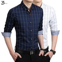 XMY3DWX 새로운 남성 패션 색상 옷깃 격자 무늬 셔츠 긴 소매 셔츠 슬림 맞는 고급 하나의 배양/S-5XL