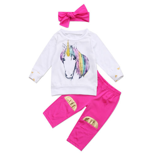 0-18M Newborn Baby Unicorn Clothes Long Sleeve Cotton Romper Tops+Long Pant Headband 3PCS Outfit Kids Clothing Set